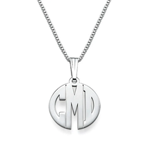 Load image into Gallery viewer, Custom Sterling Silver Block Letter Monogram Necklace