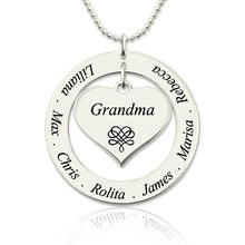 Load image into Gallery viewer, Circle Grandma Heart Pendant Necklace Engraved Kids Names