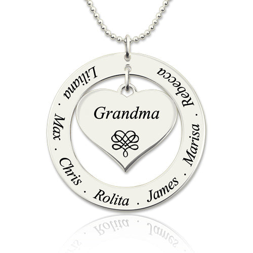 Circle Grandma Heart Pendant Necklace Engraved Kids Names