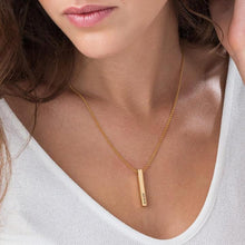 Load image into Gallery viewer, 3D Engraved Bar Necklace in Gold Plating