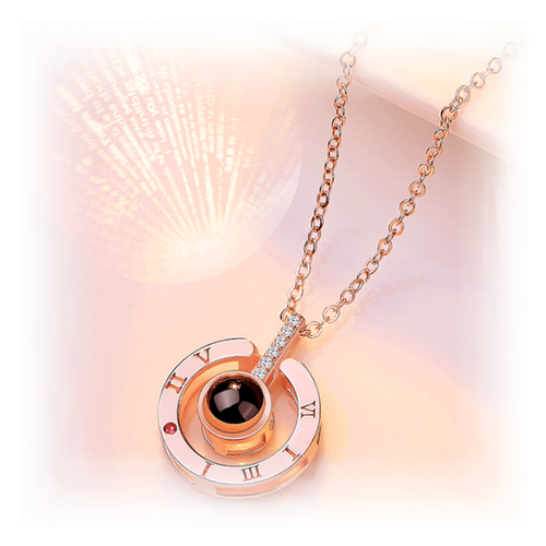 Custom Projection Necklace with Two Names Circle Pendant