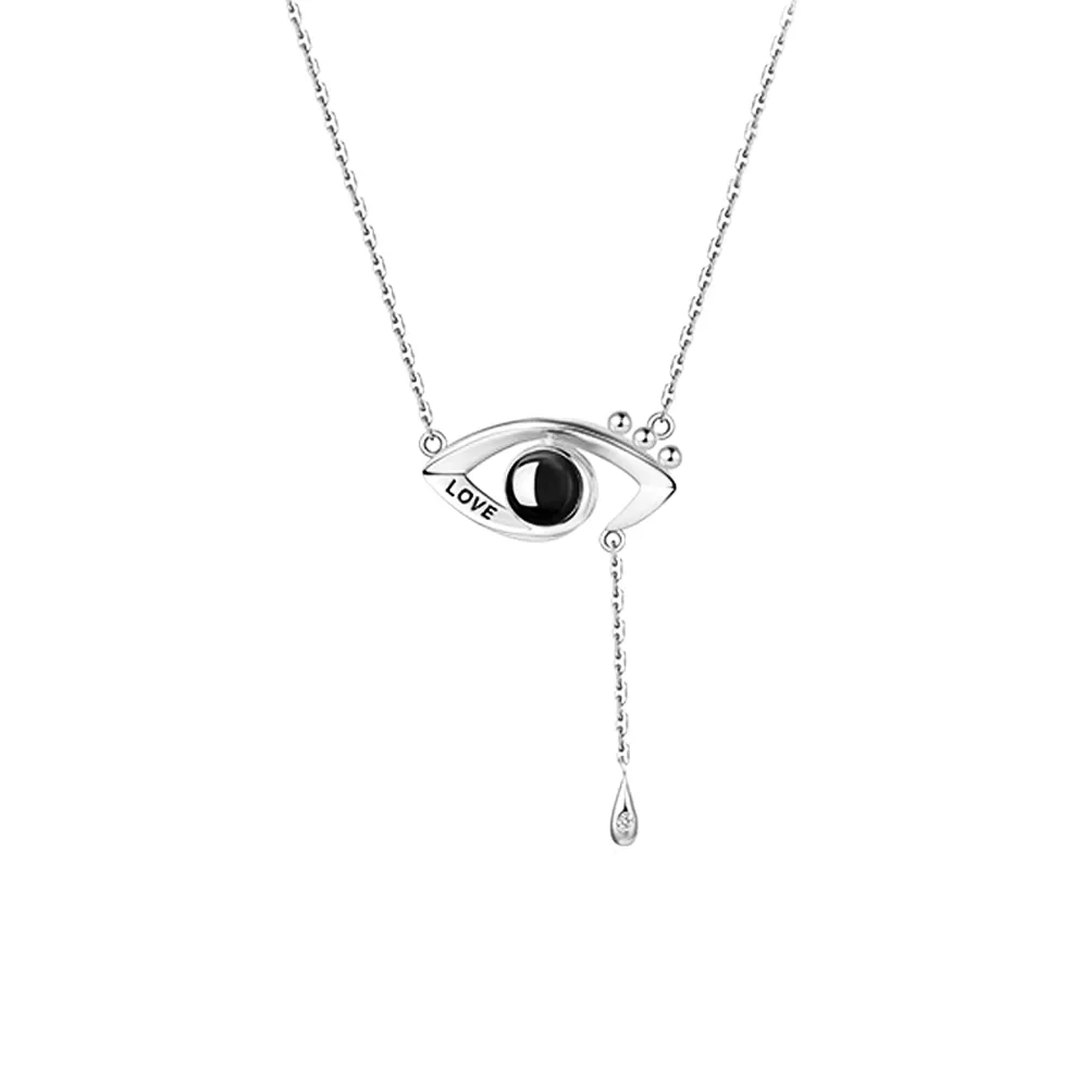 100 Languages I Love You Projection Necklace Evil Eye Pendant