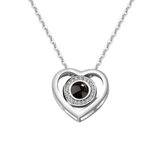 Load image into Gallery viewer, 100 Languages I Love You Projection Necklace Circle Heart Pendant