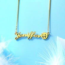 Load image into Gallery viewer, Personalized Name Emoji Necklace in Gold