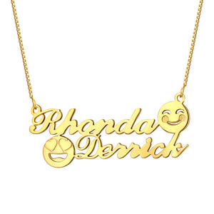 Personalized Memorial Initial Double Name Emoji Necklace Sterling Silver in Gold
