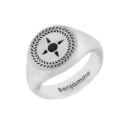 Compass Round Signet Ring for Men