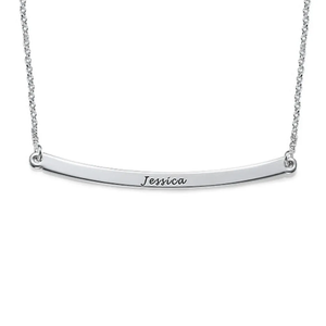 Sterling Silver Curved Bar Necklace with Name Engraved