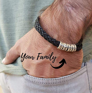 North American 2019 Trend, Personalized Sterling Silver 925 Woven Black Bracelet with Small Custom Engraved Bead Wax or Leather (Black / Brown)-Unisex