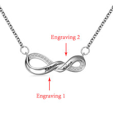 Load image into Gallery viewer, Engraved Infinity Double Name Necklace