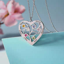 Load image into Gallery viewer, Sterling Silver Heart Family Tree Necklace Engraved with Name& Birthstones