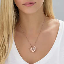 Load image into Gallery viewer, Custom Sterling Silver 3D Monogram Heart Necklace
