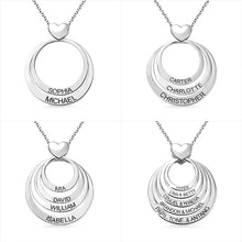 Load image into Gallery viewer, Personalized Family Stacked Circles Heart Necklace