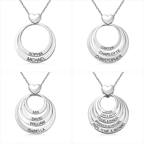 Personalized Family Stacked Circles Heart Necklace