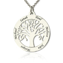 Load image into Gallery viewer, Customizable Tree Of Life Necklace Engraved 6 Names in Silver