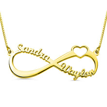 Load image into Gallery viewer, Personalized Infinity Heart Double Name Necklace