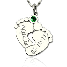 Load image into Gallery viewer, Silver Engraved Baby Feet Necklace with Personalized Birthstone
