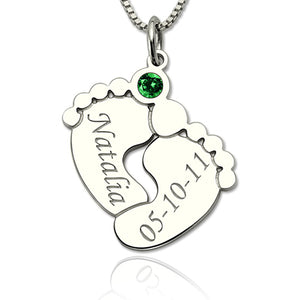 Silver Engraved Baby Feet Necklace with Personalized Birthstone