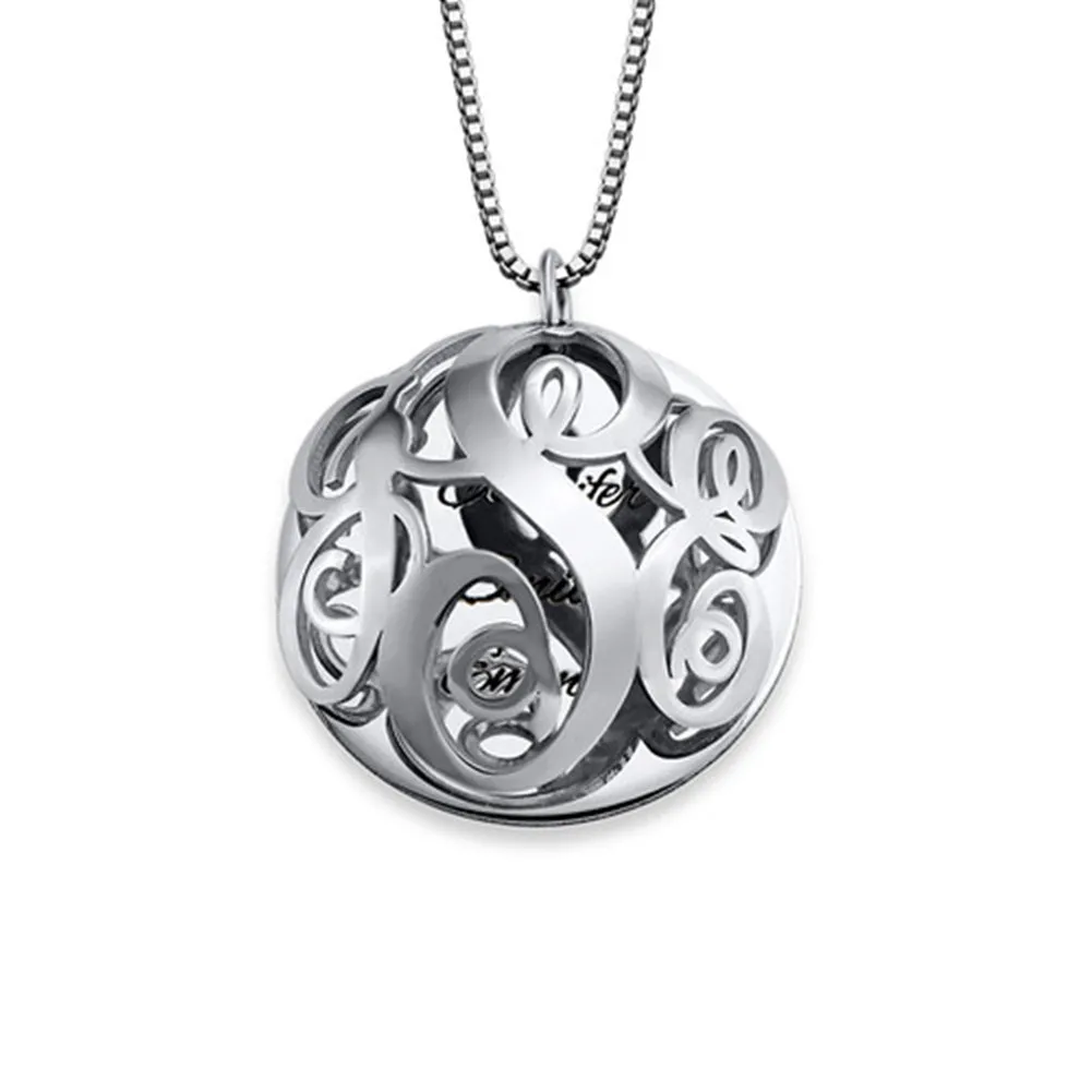 Personalized 3D Monogram Necklace Engravable Disc Pendant