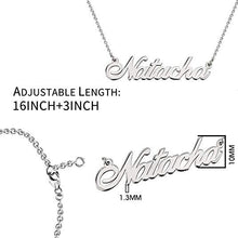 Load image into Gallery viewer, 925 Sterling Silver Personalized Name Necklace Customized with Name Adjustable Chain