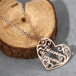 Filigree Heart Two Name Necklace
