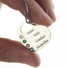 Load image into Gallery viewer, Personalized Mother's Heart Necklace with 4 Birthstones & Names