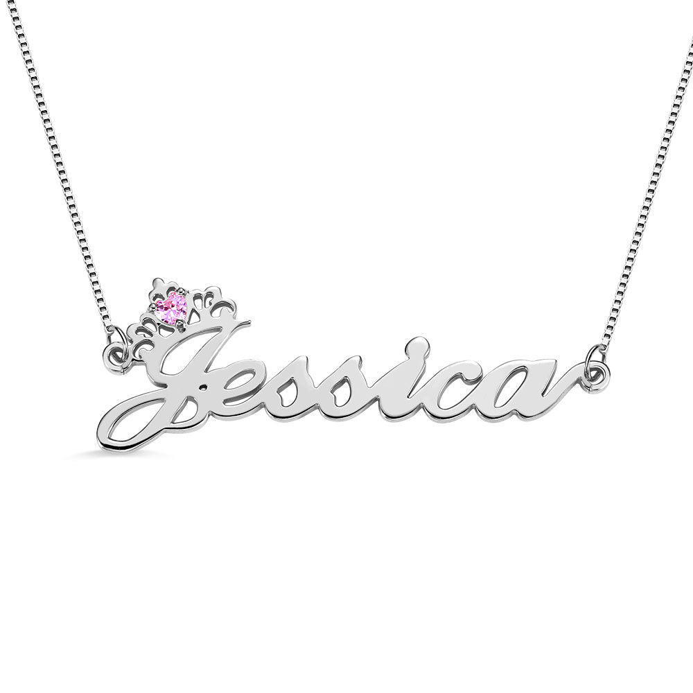 Personalized Crown Name Necklace with Birthstone in Silver