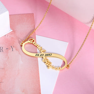 Custom 2 Names Infinity Necklace with Date in Silver