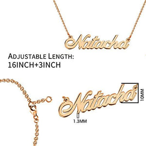 925 Sterling Silver Personalized Name Necklace Customized with Name Adjustable Chain