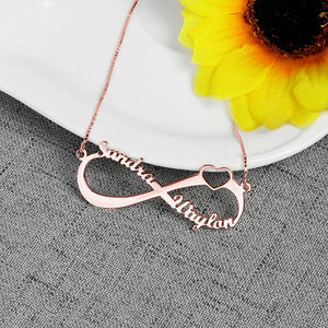 Personalized Infinity Heart Double Name Necklace