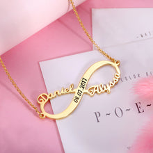 Load image into Gallery viewer, Custom 2 Names Infinity Necklace with Date in Silver
