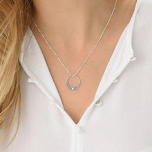 Load image into Gallery viewer, Circle Necklace with Cubic Zirconi