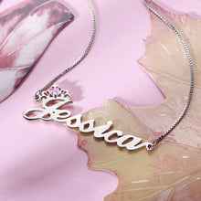 Load image into Gallery viewer, Personalized Crown Name Necklace with Birthstone in Silver