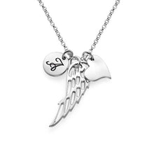 Load image into Gallery viewer, Sterling Silver Personalized Angel Wing Necklace