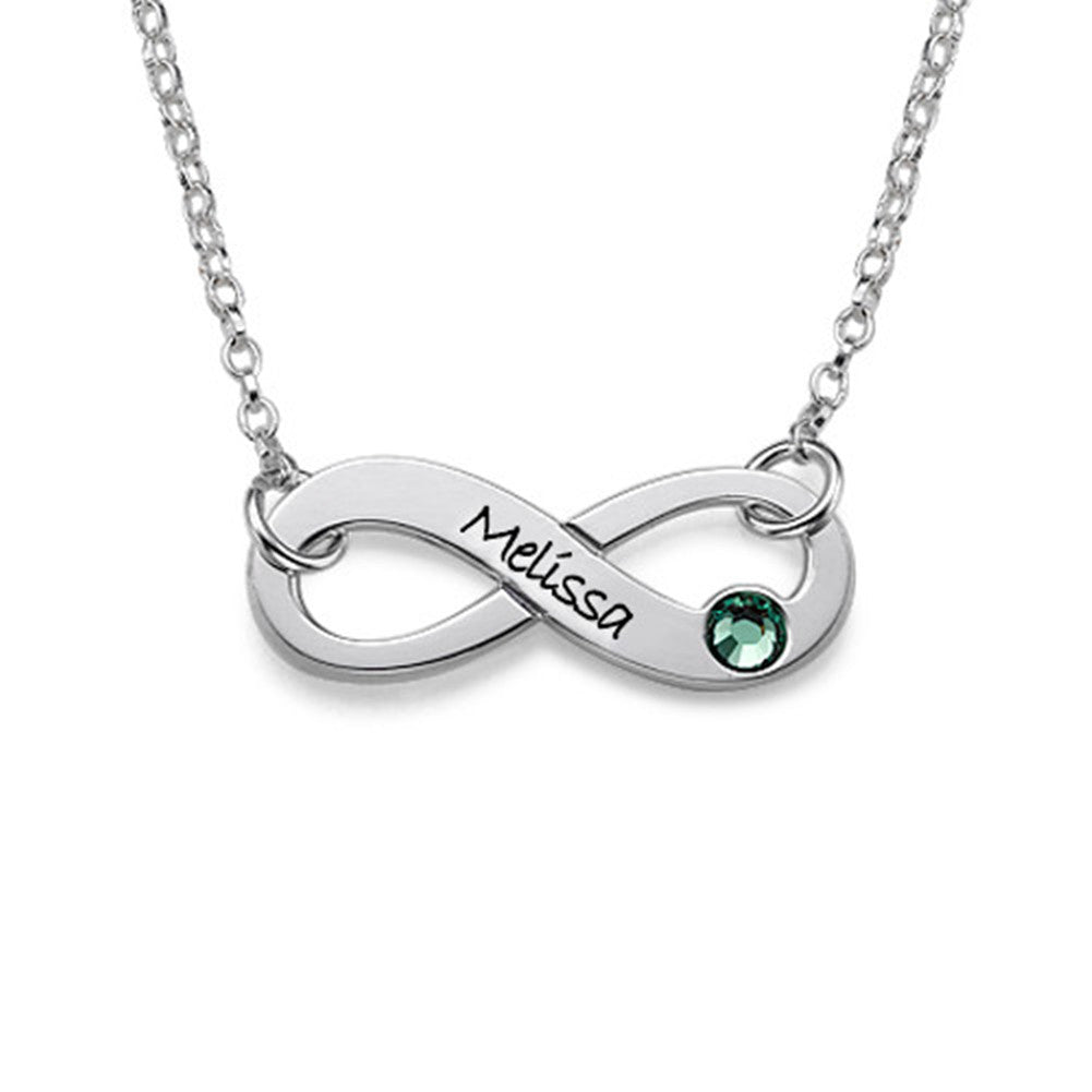 Engraved Infinity Necklace With Right Birthstone