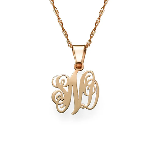 Custom Sterling Silver Monogram Letter Necklace