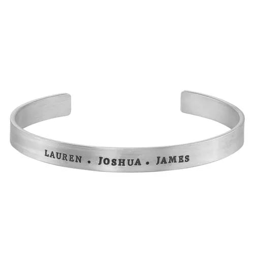 Engraved Sterling Silver Cuff Bracelet for Men