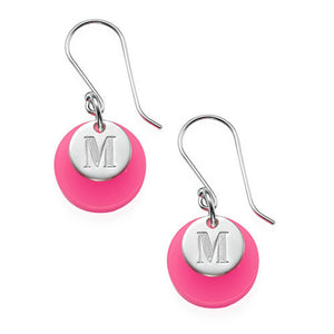 Acrylic Disc Earrings with a Monogrammed Disc