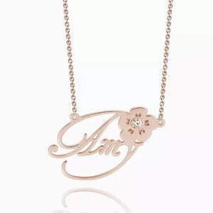 Name Necklace With Flower and Birthstone