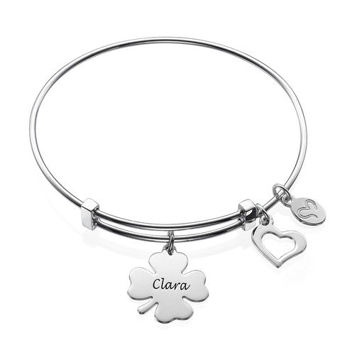 Bangle Charm Bracelet with Clover