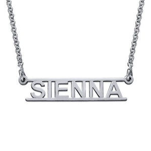 Bar Name Necklace Cut Out Design