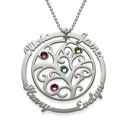 Birthstone Family Tree Necklace with Scripted Names