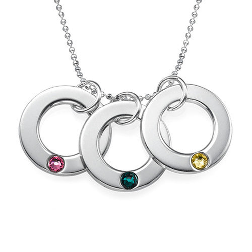 Three Birthstone Necklace Mom in Silver
