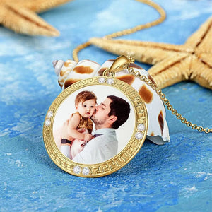 Men's Personalized Photo Engraved Necklace, Rhinestone Crystal Round Shape Photo Necklace Platinum Plated Silver - Colorful