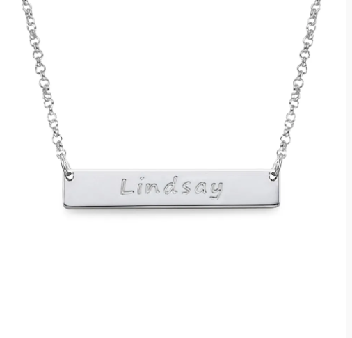 Bar Necklace with Name Engraved