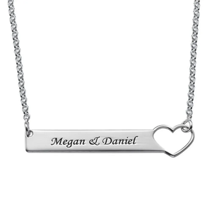 Custom Engraved Horizontal Bar Necklace with Heart