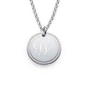 Circle Initial Necklace in Sterling Silver