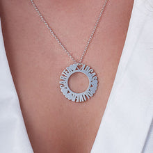 Load image into Gallery viewer, Circle Name Necklace in Silver Sterling With Small Heart