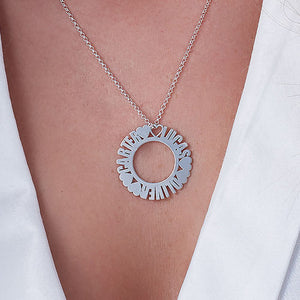 Circle Name Necklace in Silver Sterling With Small Heart