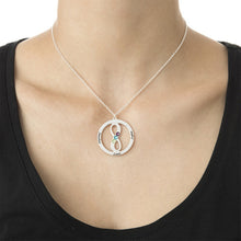 Load image into Gallery viewer, Circle Name Necklace with Infinity Symbol With 3 Birthstone