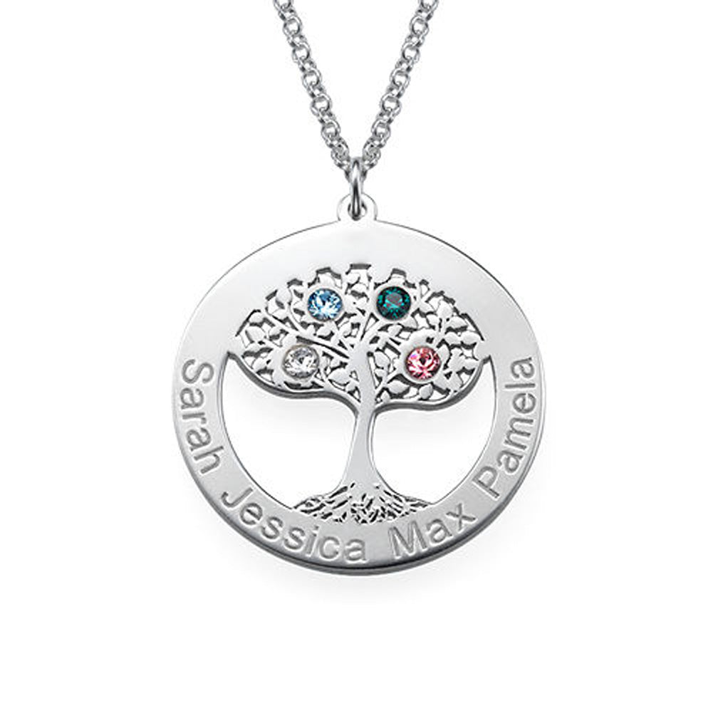 Personalized Circle Tree-of Life Necklace with Birthstones